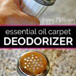 Homemade carpet deodorizer in shaker jars over carpet