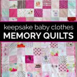 Two baby clothes memory quilts next to each other