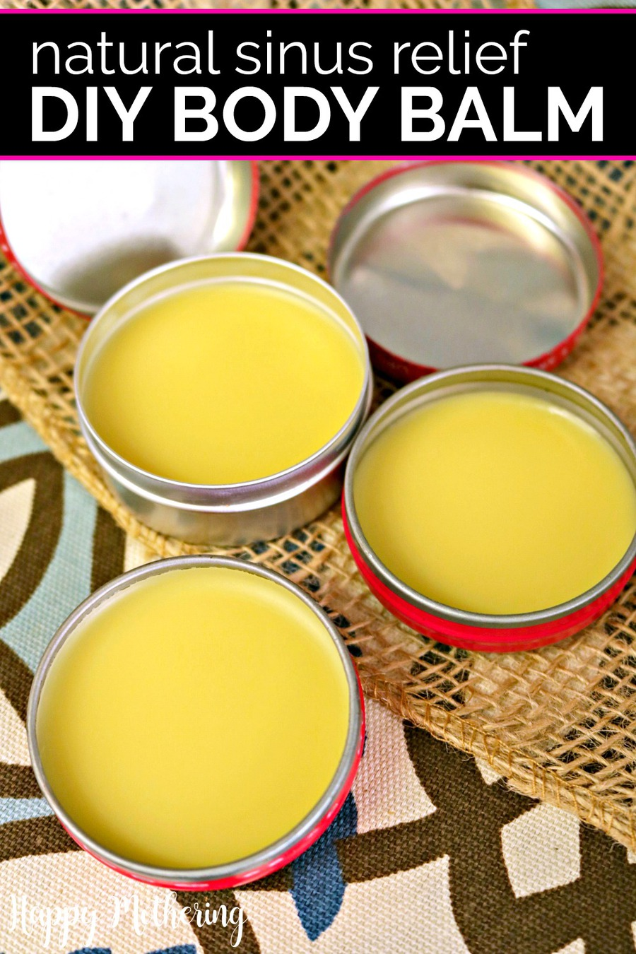 DIY sinus relief body balm on a tablecloth in tins.