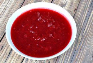 Bowl of homemade honey sweetened cranberry sauce