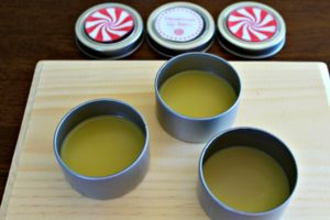Cooled peppermint lip balm in metal tins
