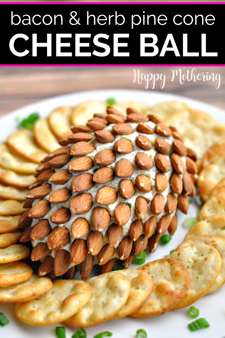 Pine cone cheese ball surrounded by crackers on a white plate