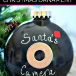 Close up of DIY Santa Cam Christmas ornament
