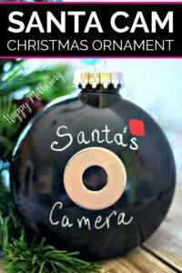 Close up of DIY Santa Cam Christmas ornament