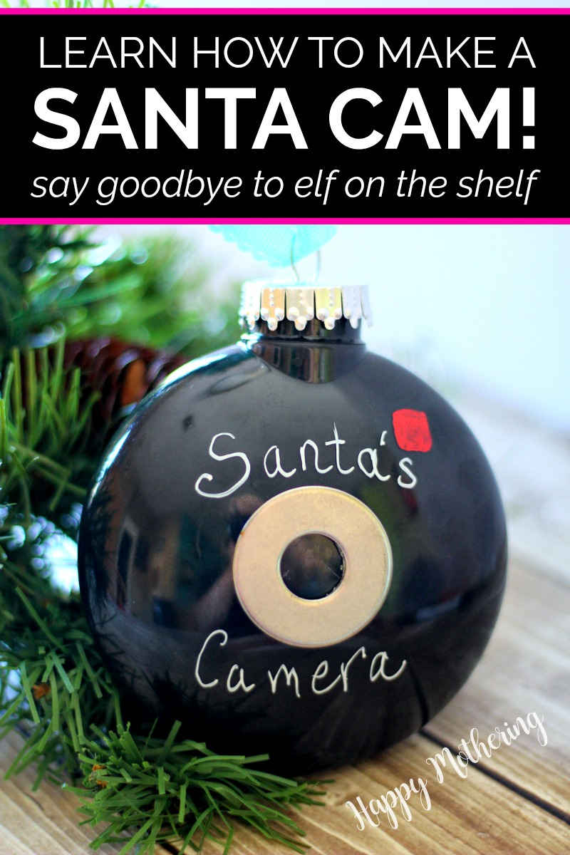 Cute Santa Camera Christmas ornament that can be used as an alternative to Elf on the Shelf