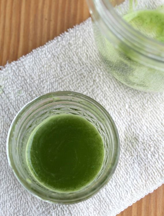 Strained basil liquid in a jar