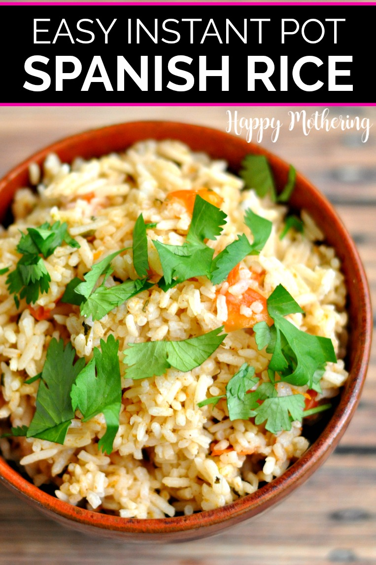 Brown ceramic bowl filled with Instant Pot Spanish Rice topped with cilantro