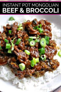 Mongolian beef and broccoli served over white rice