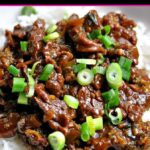 Close up of Instant Pot Mongolian Beef and Broccoli served over white jasmine rice