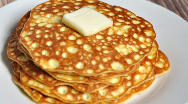 Stack of homemade pancakes that are low carb for the keto diet