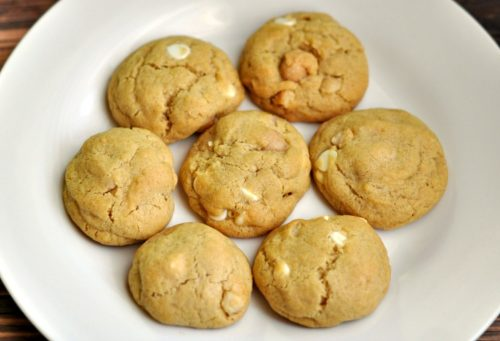 Plate of homemade white chocolate macadamia nut cookies