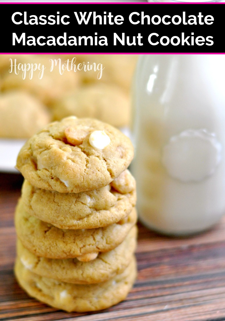 Stack of white chocolate macadamia nut cookies next to a jar of cold milk