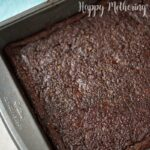 Pan of black bean brownies still in the baking pan