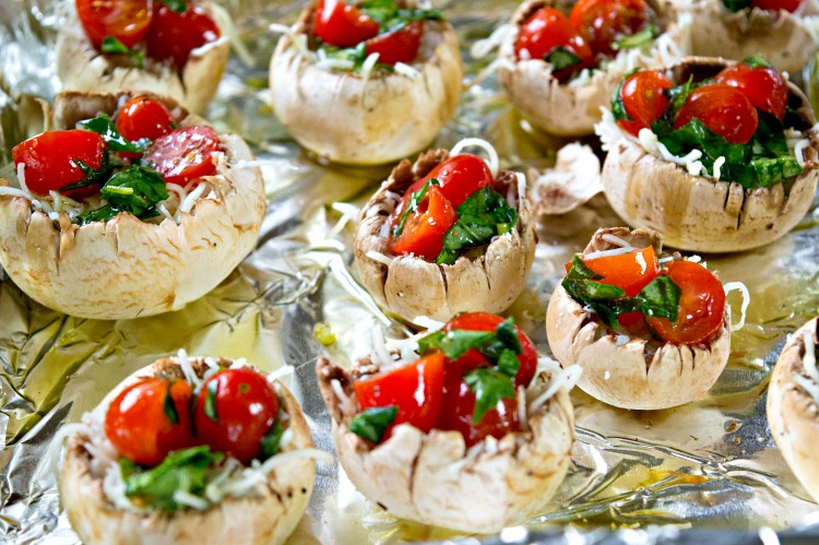 Large button mushrooms stuffed with caprese ingredients