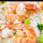 Close up of shrimp scampi served over white rice with a parsley garnish