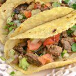 Close up of inside of carne asada street taco