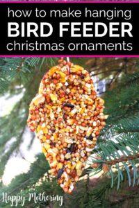 DIY Bird Feeder Christmas ornament hanging on a tree