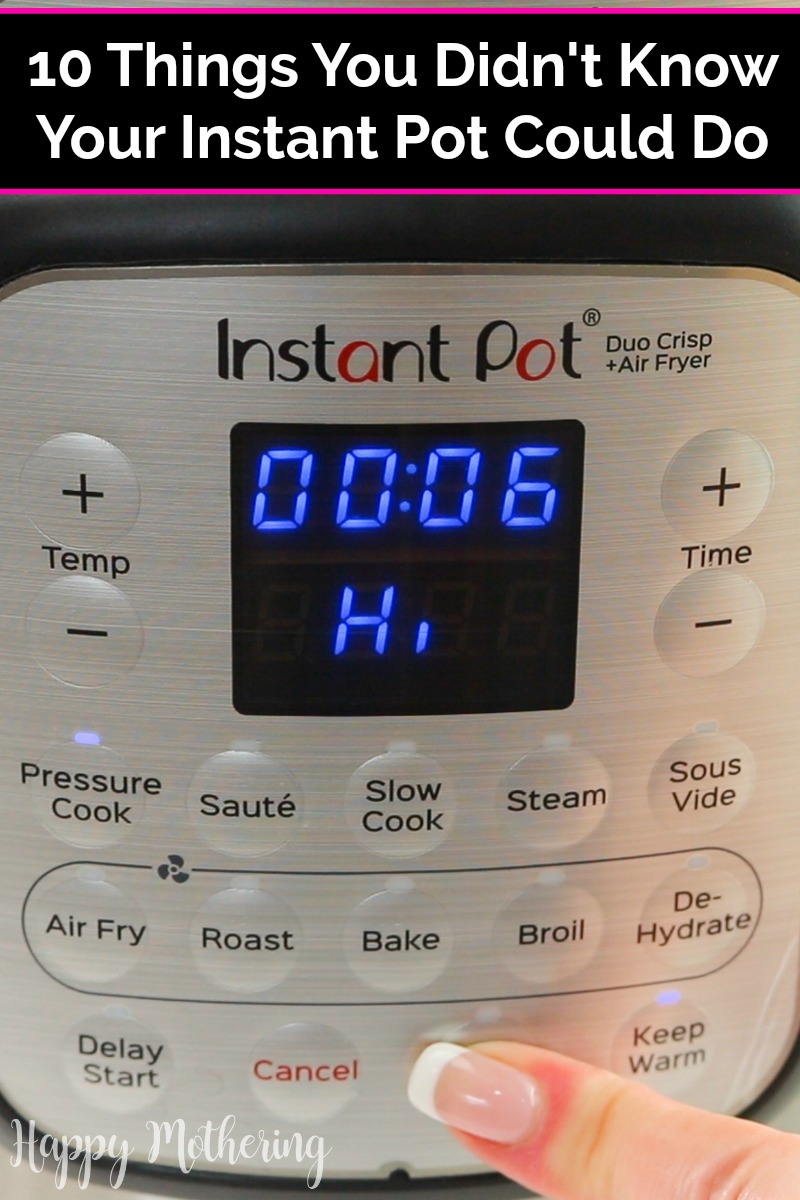 Instant Pot Duo Crisp Electric Pressure Cooker being set on high for 6 minutes