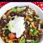 Overhead view of Instant Pot vegetarian chili topped with sour cream