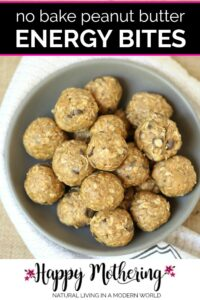 No bake peanut butter energy bites in a bowl