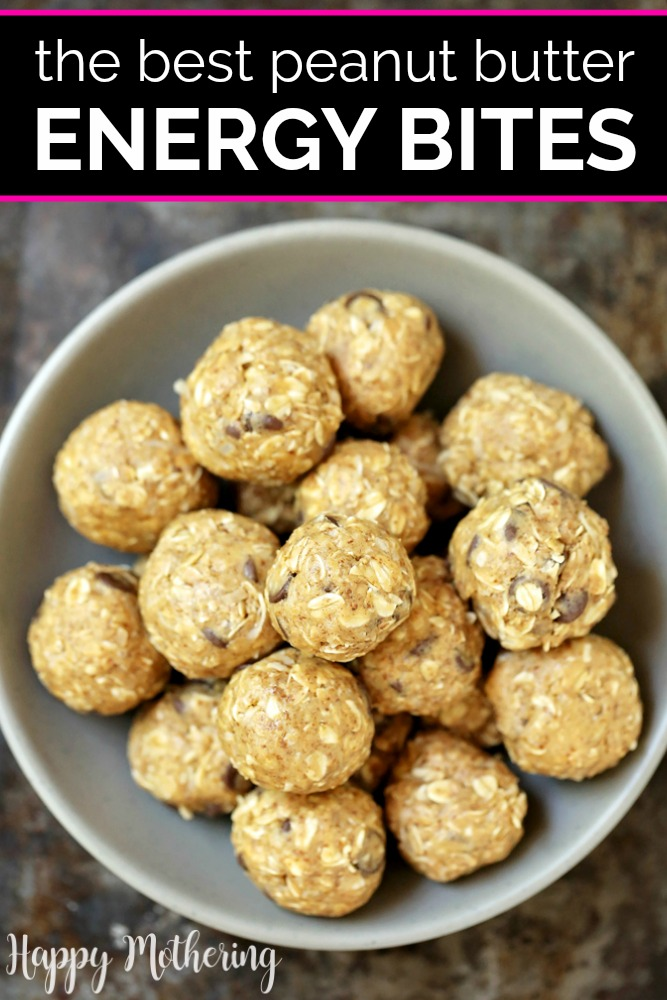Yummy no bake energy bites in a off white bowl