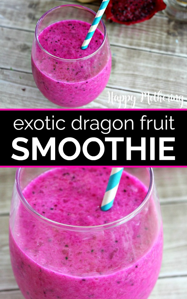 A Dragon Fruit Smoothie is a fun way to introduce your family to exotic fruits. The bright pink color and slightly sweet flavor make a unique smoothie!