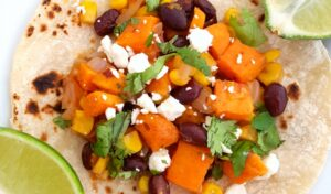 Close up of the black bean and sweet potato taco filling