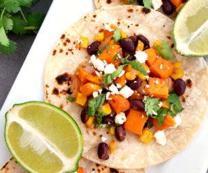 Honey Lime Sweet Potato, Black Bean & Corn Vegetarian Tacos