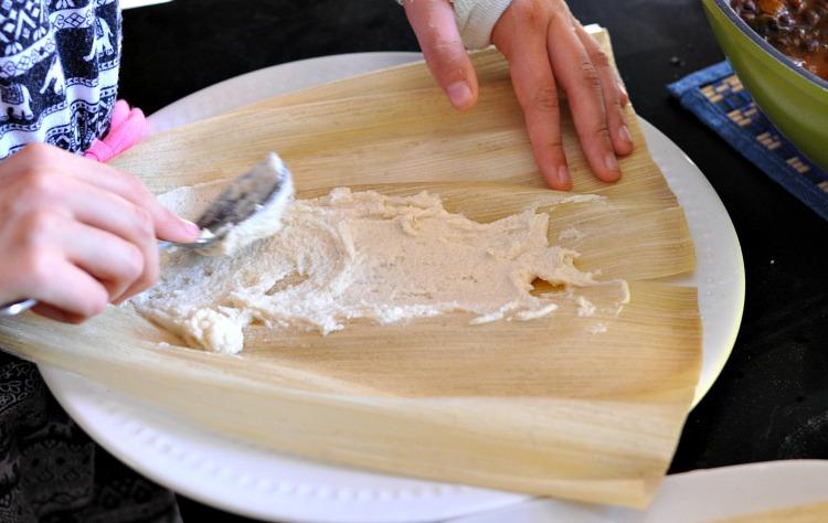 Masa mixture spread onto a soaked corn husk
