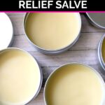 Three containers of menstrual pain relief salve