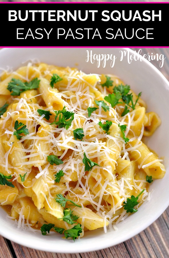 Gluten free pasta with homemade butternut squash sauce, parmesan cheese and chopped parsley in a white ceramic bowl