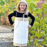 Kaylee in cute needle and thread costume made from upcycled boxes