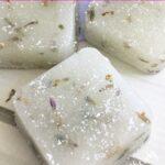 Close up of DIY lavender bud sugar scrub cubes for exfoliating skin