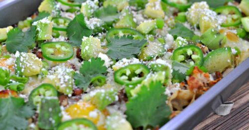 Are you looking for a new breakfast idea that's not only quick but yummy? This Chicken Verde Chilaquiles Breakfast Casserole is delicious AND easy to make!