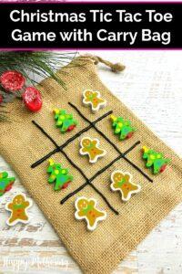 Homemade tic tac toe game with Christmas theme
