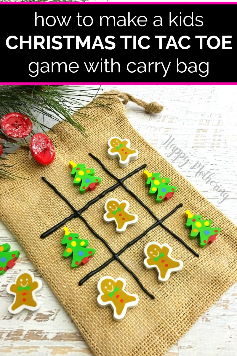 Jute bag made into a tic tac toe game with Christmas erasers