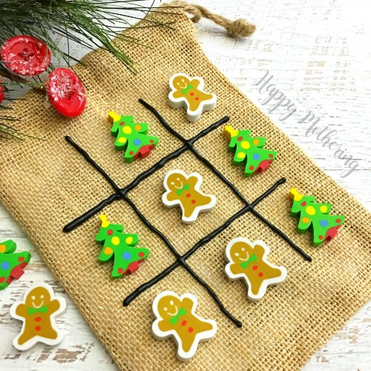 DIY Tic Tac Toe Game Christmas craft for kids