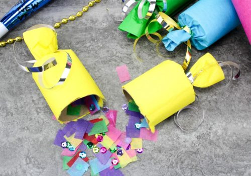 DIY party poppers for kids on New Year's Eve