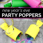 A couple of DIY party poppers ready to pop and one popped open exposing confetti