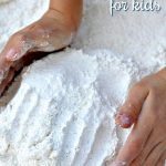Do you want to give your child the feel of playing in the snow without actually visiting the snow? Make this Glittery Faux Snow for a dose of winter fun!
