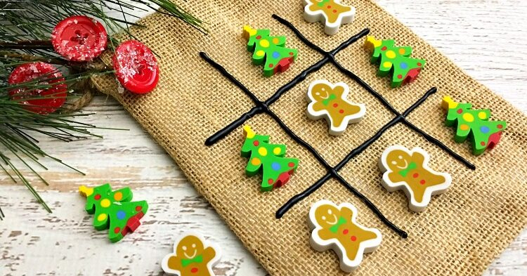 Homemade kids tic tac toe game made from a jute bag and Christmas erasers