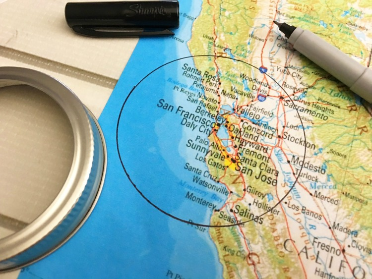 trace your mason jar ring over the map