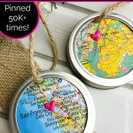 Are you looking for a map ornament tutorial that's fast & fun? This Mason Jar Ring Map Ornament uses simple supplies to create a unique Christmas ornament!