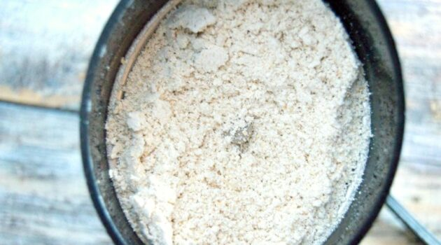 Powdered oatmeal in a coffee grinder