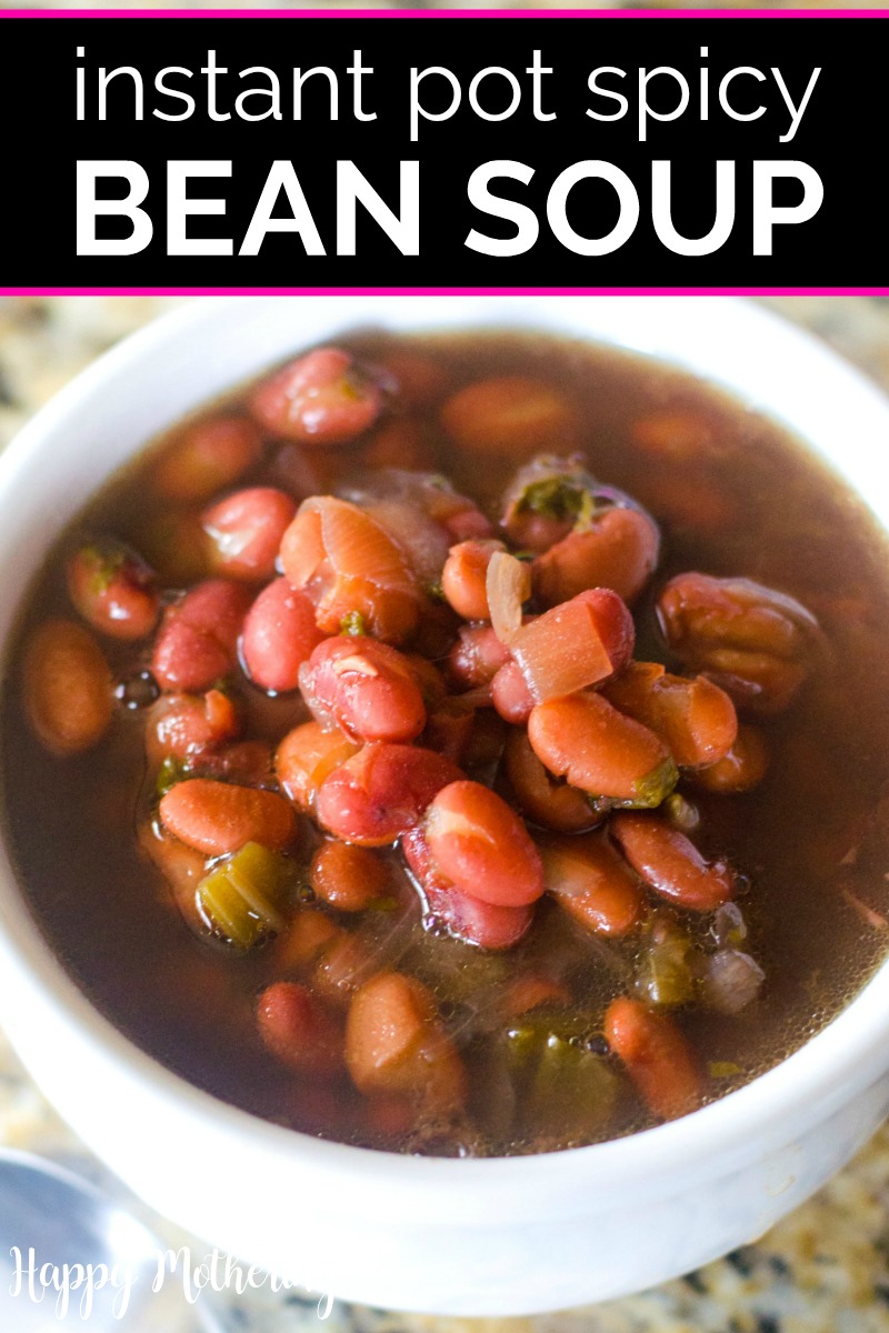 Bowl of bean soup made in and Instant Pot