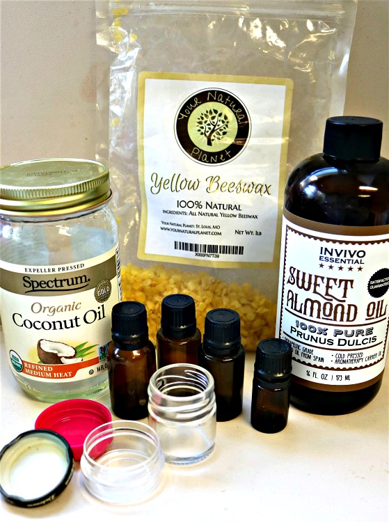 Supplies to make a natural pain relief balm.