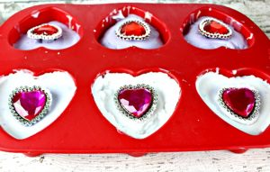 Heart rings pressed into soap in a silicone mold