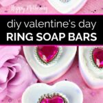 Six finished Valentine's Day ring soap bars ready to gift
