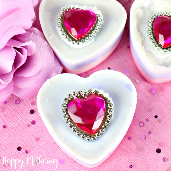 Overhead view of 3 ring soap bars for Valentine's day gifts