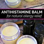 Four tubs of antihistamine balm on brown tables